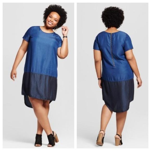 3cd7ad40337 Ava   Viv Dresses   Skirts - AVA   VIV Denim Chambray Colorblock Shirt ...